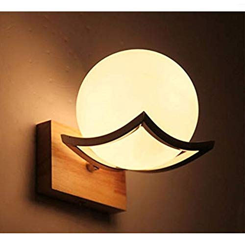 Han cheng he Wall Lamp Wall Lamp E27 Glass Metal Living Room Creative Simple Wood Corridor Bedroom Balcony Wall Lamp Oak Wooden LED Wall Light for Nightstand Porch Bathroom Vanity ()