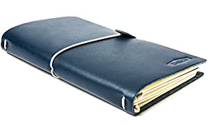 THRICH Handmade Travelers Journal Notebook with Elastic Band, Leather, Refillable, Navy Blue