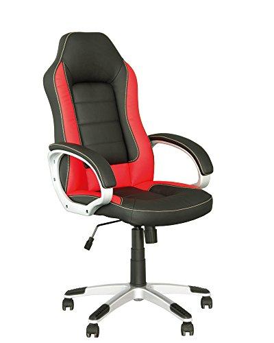 RACER SPORT - Silla de direccion gaming de oficina con mecanismo de inclinacion ajustable. Color rojo y negro .
