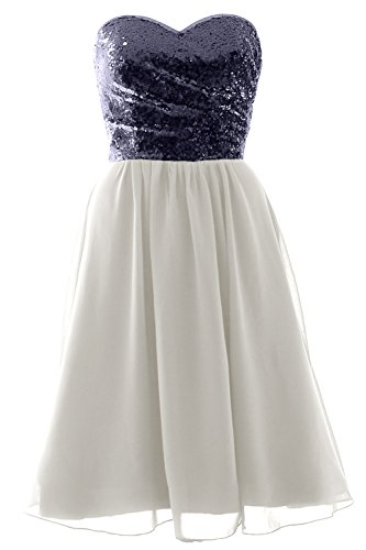 Dress Elegant Short Sequin Ivory Formal MACloth Chiffon Bridesmaid Strapless Navy Gown Dark awdEOOWIq