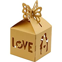 DriewWedding Gift Boxes, Set of 50 Easy to Assemble Wedding Favors Gift Wrap Boxes for Guests, Snack Food Candy Sweet Spread Gifts Box with Hollow Design (Gold)