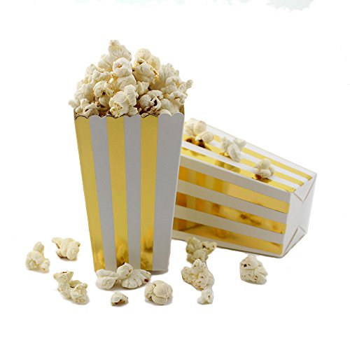 Striped Favor Box - IPALMAY Gold and White Striped Small Paper Popcorn Boxes - Treat Boxes - Birthday Favor Box - Snack Boxes, Family Movie Night Boxes, Set of 36