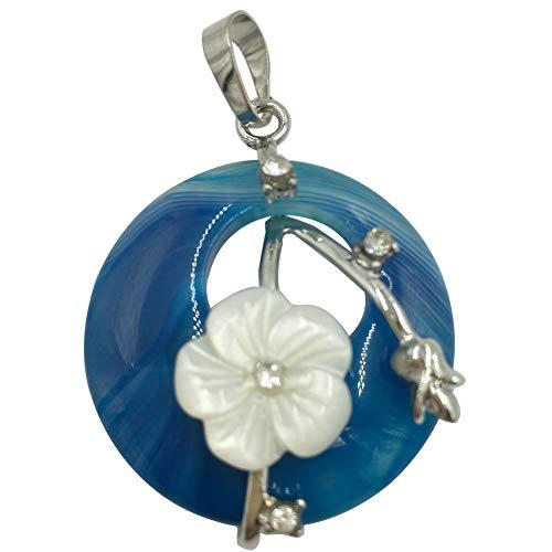 Jewelry58718 Fashion Round White Shell Flower Blue Onyx Agate Pendant Bead 1pcs (Stone)