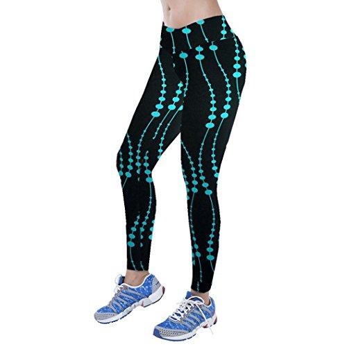 Perman Yoga Sport Leggings, High Waist Fitness Printed Stretch Pants (L, Blue)