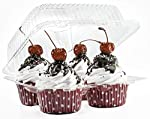 4 Compartment Cupcake Boxes   Clear Plastic Cupcake Container - Disposable