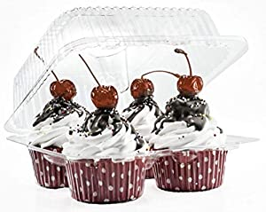 4 Compartment Cupcake Boxes   Clear Plastic Cupcake Container - Disposable Cupcake Holders   Muffin Carrier - Cupcake Clamshell Trays   Cup Cake Packaging Transporter   40 Pack