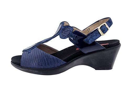Calzado mujer confort de piel Piesanto 6857 sandalia plantilla extraíble zapato cómodo ancho Marino