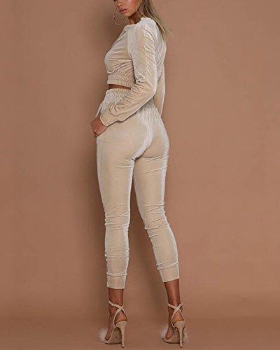 Minetom Donna Sexy Manica Lunga Tuta Da Ginnastica 2 Pezzi Felpa Casuali Giacca Di Velluto Eleganti Sportiva Jogging Lungo Pantaloni