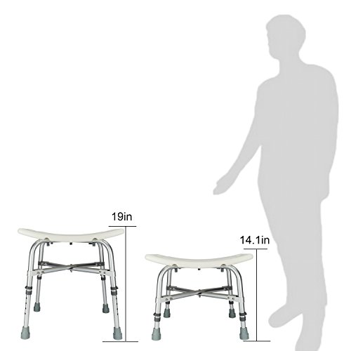 Mefeir Medical Shower Chair Bath Stool Transfer Bench Seat,Heavy Duty 450LBS Upgrade Framework SPA Bathtub Chair,No-Slip Adjustable 6 Height (Normal) by Mefeir (Image #2)