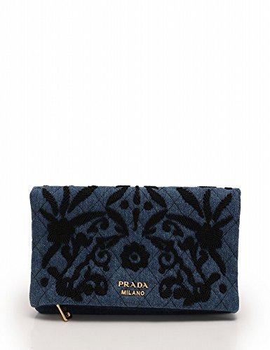 16f8a4a8927d Amazon | (プラダ) PRADA ポーチ 刺繍 デニム 青 黒 DENIM IMPUNTUPA 1MS003 中古 | ポーチ