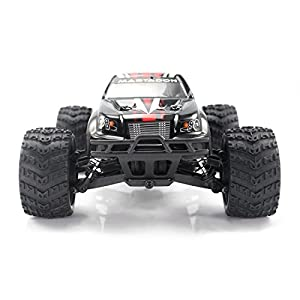 HIMOTO E18MT RC Brushed Motor Racing Monster Truck 1/18 Scale 2.4G 4WD Electric Power Off Road Buggy Car with 40 km/h+ High Speed, Red