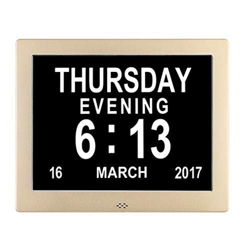 Day Clocks-8 Alarms,Extra Large Non-Abbreviated Day for Vision Impaired, Elderly,Dementia,Memory Loss with Play Video/Photo Function (Glod Polished Metal Frame) ()