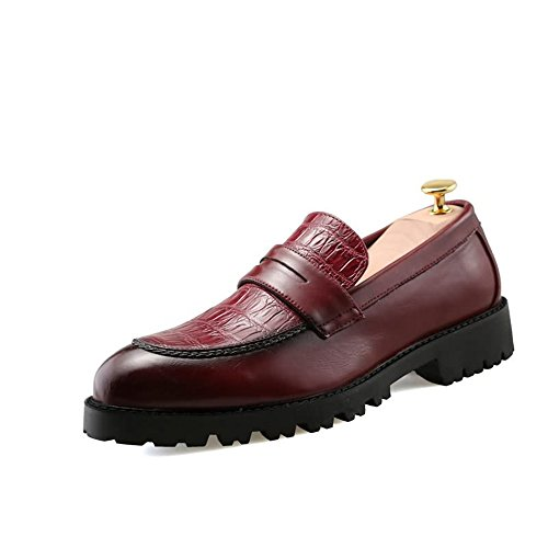 Xujw-shoes, 2018 Schuhe Herren, Herren Oxfords Flache Ferse PU Leder Slip auf Formale Schuhe (Farbe : Schwarz, Größe : 39EU) Rot