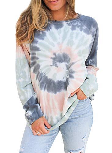 Dylanlla Womens Long Sleeve T Shirts Crewneck Tees Tie Dye Sweatshirt Comfy Casual Tunics Tops Blouses Tshirts