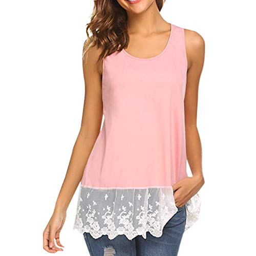 Sunhusing Ladies Lace Stitching Sleeveless Vest with Lace Trim Hem Embellished Beach Tank Top Shirt
