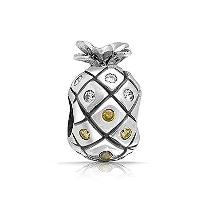 Nice truecharms April November Birthstone Pineapple Charm Beads Fits European Jewelry Charms Bracelets