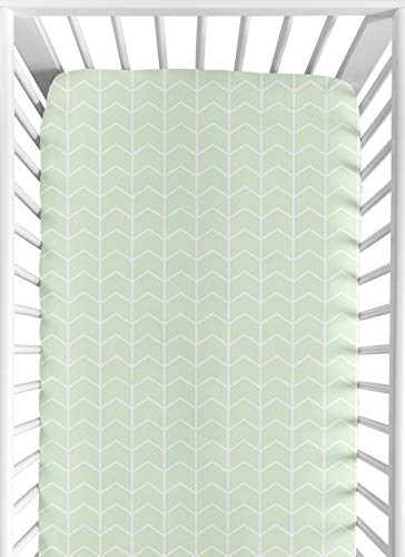 Sweet Safari Crib Sheet - Sweet Jojo Designs Mint and White Chevron Arrow Baby or Toddler Fitted Crib Sheet for Watercolor Elephant Safari Collection