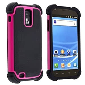 Cerhinu 5-in-1 Bundle (Black+Pink) Hybrid Duo Shield Tough Armor Case Cover For Samsung Galaxy S II S2 Hercules aka T-Mobile...