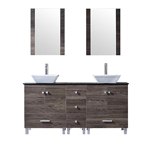Find Discount BATHJOY 60 Double PLY Wood Bathroom Vanity Cabinet and Square Ceramic Vessel Sink w/M...