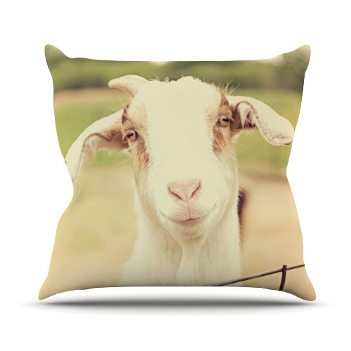 Kess InHouse Angie Turner Happy Goat Smiling Animal Outdoor Throw Pillow, 16 by 16-Inch by Kess InHouse