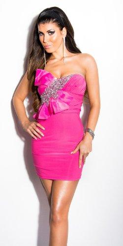 asombrosa koucla Mini vestido con lazo y piedras–Bandeau vestido en 6colores–para vestido de noche con piedras (Talla Única) 4 Pink