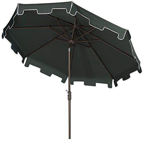 Safavieh Outdoor Collection Zimmerman Crank Market Umbrella with Flap, Dark Green, 9
