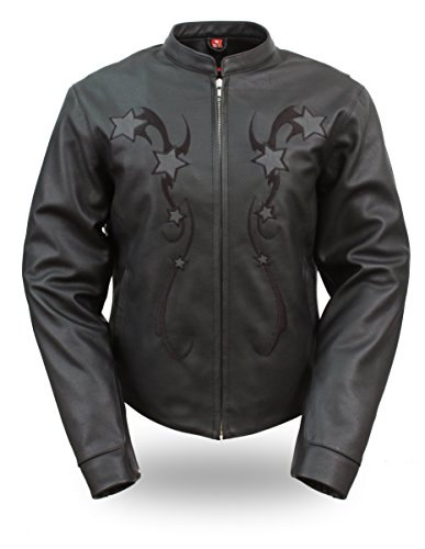 UPC 782227218122, Womens Leather Reflective Star Motorcycle Jacket