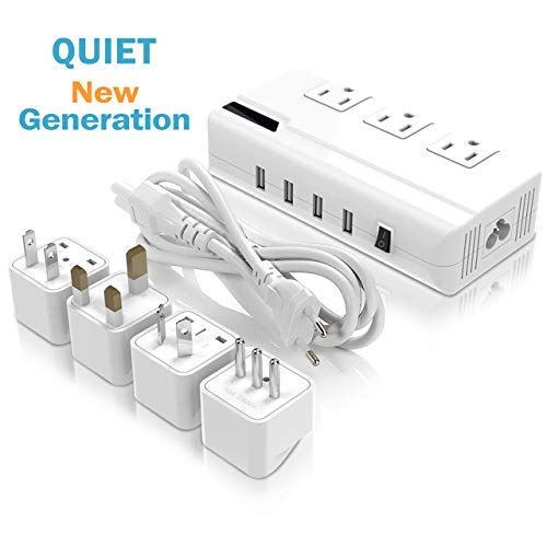 Power Step Down 220V to 110V Voltage Converter with 4-Port USB International Power Travel Adapter Power Strip in UK European Italy Asia etc,Worldwide Plug Adapter. (Note: 200W Max, Not for Flat Iron)