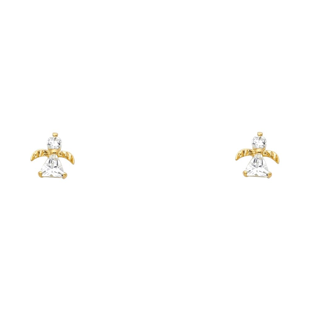 Wellingsale 14K Yellow Gold Polished Angel Stud Earrings With Screw Back