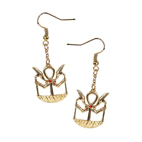 EGYPTIAN ANKH GOLDEN STUB EARRINGS PEWTER ALLOY