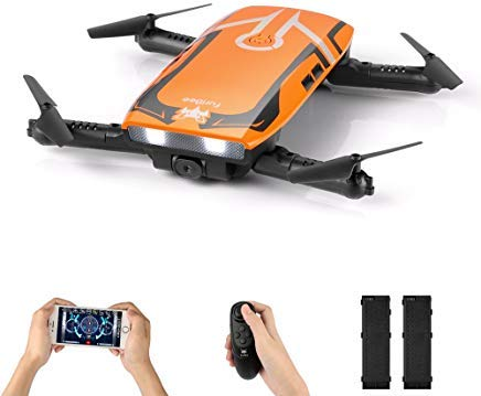 FuriBee FPV Mini Drone RC Quadcopter 720P HD Wi-Fi Camera H818 Selfie Drone Foldable Protective Case Gravity Sensor Control Altitude Hold Kids Beginners (Orange 2 Batteries)