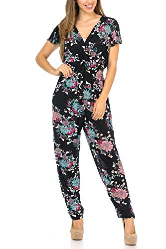Auliné Collection Womens Short Cap Sleeve V-Neck Long Pants Romper Jumpsuit - Spring Bouquet Floral S/M