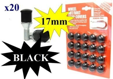 Hexagon Wheel Nuts Covers Pack of 20 - ABS Plastic (17mm Black) High Quality Finish AIP