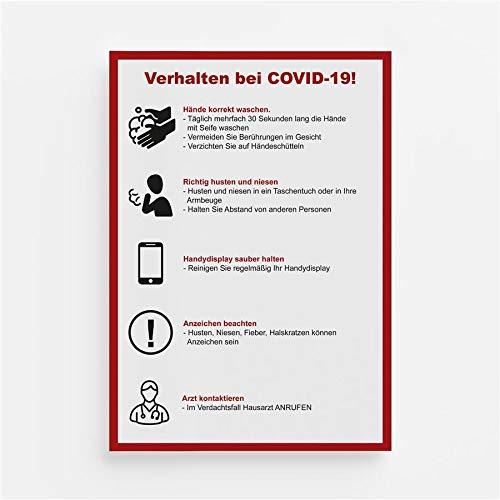 Warnhinweis Aufkleber Verhaltensregeln Schutz Hygiene Corona Digitaldruck Folie DIN A4