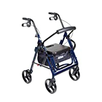 Drive Medical Duet Doble función Transporte Silla de ruedas Walker Rollator, Azul