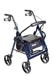 Drive Medical Duet Dual Function Transport Wheelchair Walker Rollator, Blue