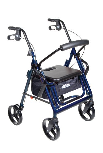 Drive Medical Duet Dual Function Transport Wheelchair Walker Rollator  Blue