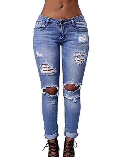 Fitted Denim Jacket - Women's Knee Ripped Stretch Denim Distressed Slim Fit Boyfriend Jeans X-Large Blue