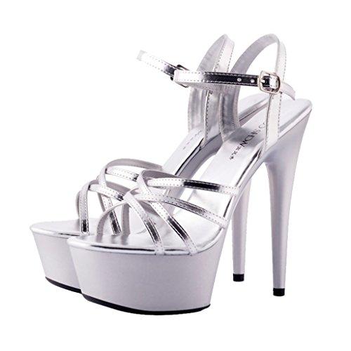 da long245mm 15cm da Silver Rosso Flower dimensioni a spillo Shoes Colore donna Sweet Sandali banchetto ALUK Scarpe Tacco alto 39 UqwgCP