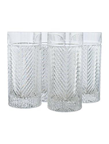 Ralph Lauren Herringbone Highball Crystal Glass Set of 4 (Highball Glass Crystal Set)