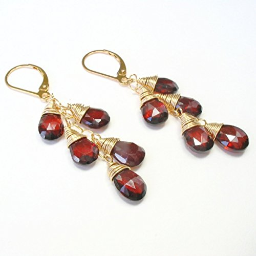 14k Precious Earrings (Garnet Gemstone Cascade Leverback Earrings 14K Gold Filled)
