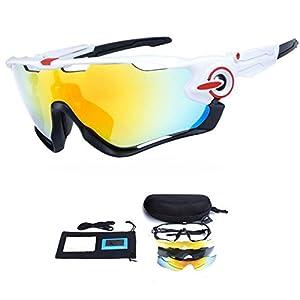 My case diy store Polarized Sports Sunglasses with 3 Interchangeable Lenses UV400 Protection Cycling Glasses With 5 Interchangeable Lenses for Cycling, Baseball ,Fishing, Ski Running ,Golf White