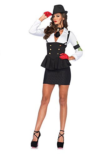 Mafia Lady Costume (3 PC. Ladies Machine Gun Molly Dress - Small - Black/White)