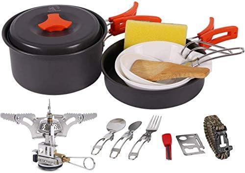 8X Portable Outdoor Hiking Camping Cookware Cooking Set Picnic Pan Bowl Pot CE
