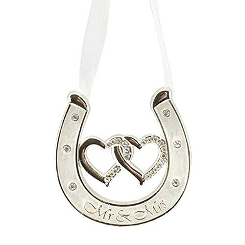 (Wedding Silver Plated Ivory Double Heart Horseshoe Diamant┌ - Mr & Mrs)