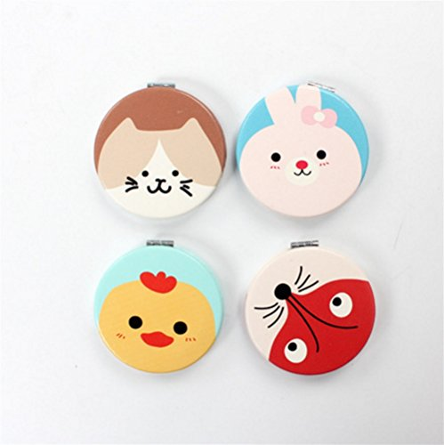 Zhahender Creative Cute Mirror Women's Accessories Mini Round Shape Animal Pattern Small Glass Mirrors for Crafts Decoration Cosmetic Accessory by Zhahender