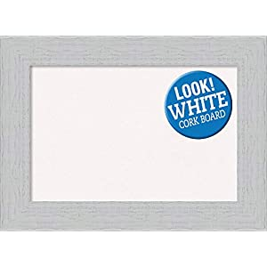 Framed White Cork Board Bulletin Board | White Cork Boards Alexandria White Wash Narrow Frame | Framed Bulletin Boards | 21.25 x 15.25 in.