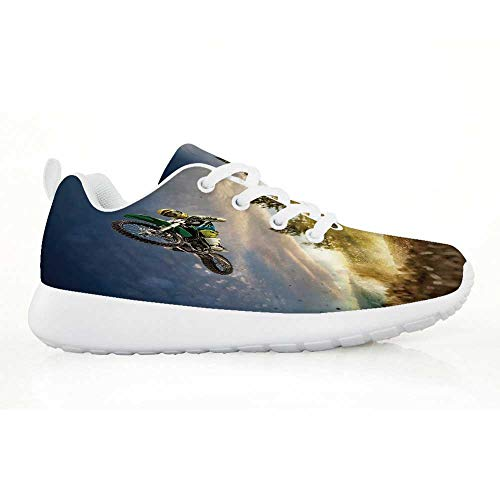 TecBillion Teen Room Decor Comfortable Running Shoes,Man on The Bike Racing in Earth Path Nature Exotic Sports Success Image for Kids Boys,EU34
