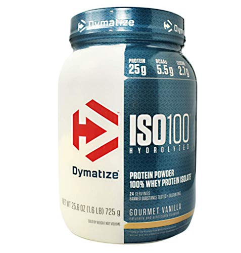 Dymatize ISO 100 Hydrolyzed Whey Protein Powder Isolate, Gourmet Vanilla, 1.6 Pound