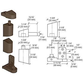 """CRL D Bronze Offset Right Hand Pivot Set w// 1//8/"""" Recess 0P31RHDU"""